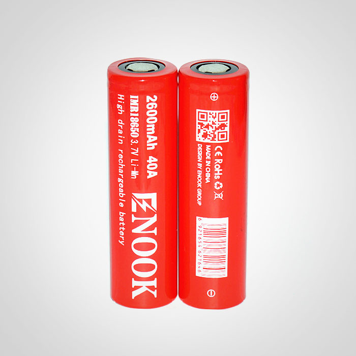Enook 18650 2600mAh 40amp IMR rechargeable battery 18650 li-Mn battery