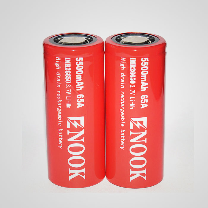 Enook 26650 5500mAh 65A high drain 3.7V rechargeable battery with flat top