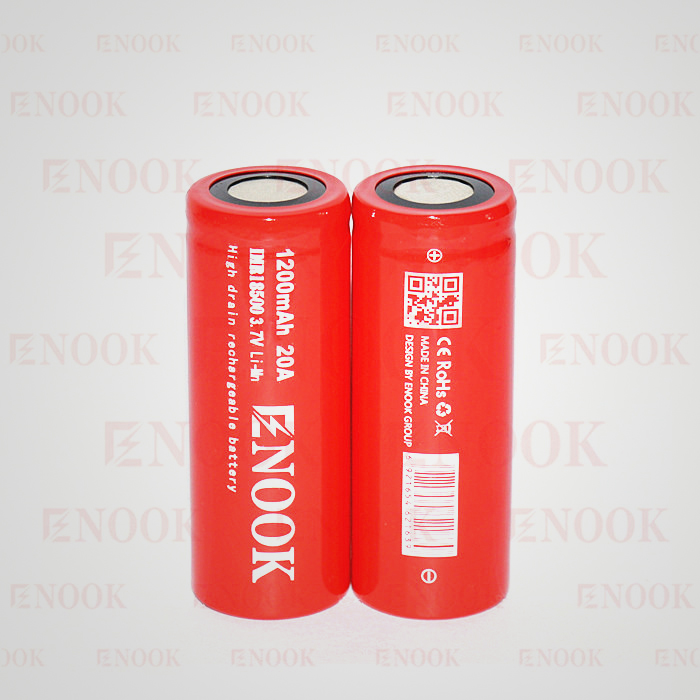Enook 18500 1200mAh 20A IMR rechargeable li-Mn battery the best 3.7V 18500 lithium battery for vaporshark