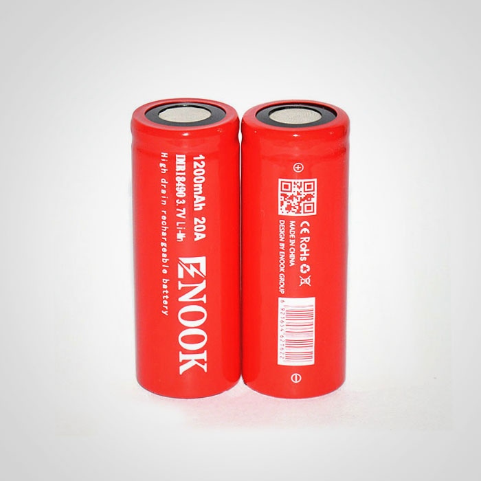 Enook 18490 1200mAh 20A 3.7V high drain rechargeable Li-Mn battery with flat top